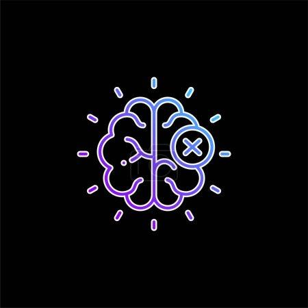 Photo pour Icône vectorielle gradient bleu cerveau - image libre de droit