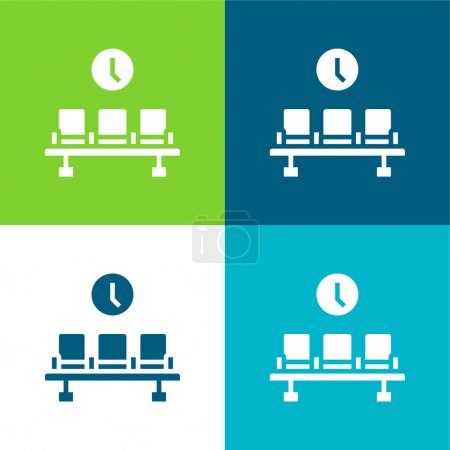 Illustration for Airport Flat four color minimal icon set - Royalty Free Image