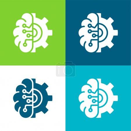 Illustration pour Intelligence Artificielle Ensemble plat d'icônes minimes quatre couleurs - image libre de droit