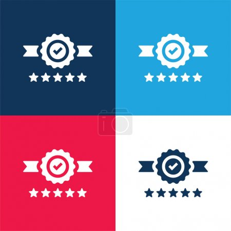 Illustration for Badge blue and red four color minimal icon set - Royalty Free Image