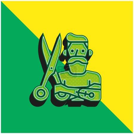 Photo pour Barber Logo vectoriel 3d moderne vert et jaune - image libre de droit