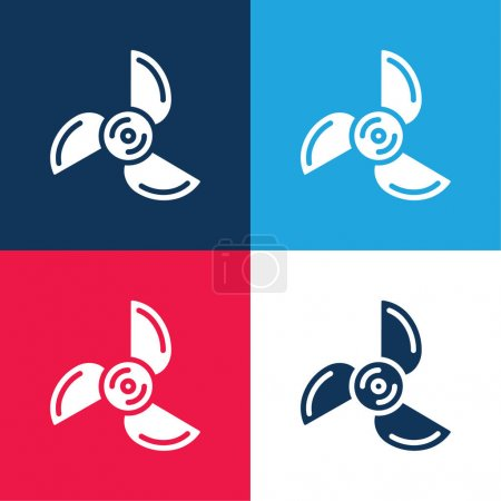 Illustration for Blades blue and red four color minimal icon set - Royalty Free Image