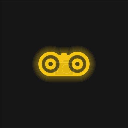 Binoculars yellow glowing neon icon
