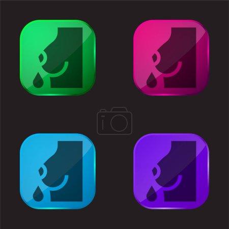 Illustration pour Allaitement quatre couleur icône bouton en verre - image libre de droit