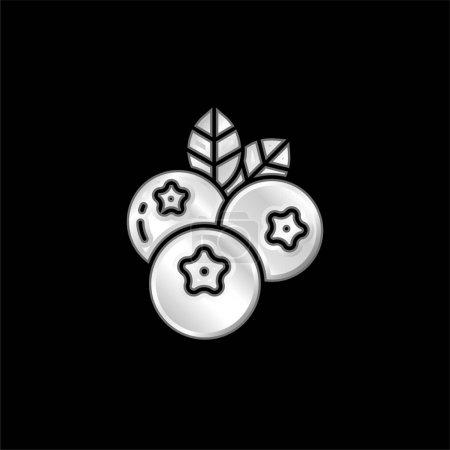Illustration for Blueberry silver plated metallic icon - Royalty Free Image