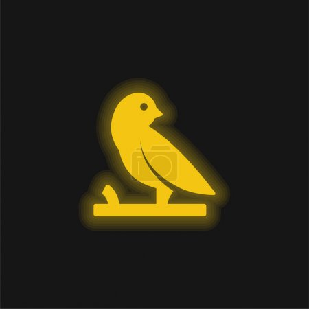 Bird On A Branch yellow glowing neon icon