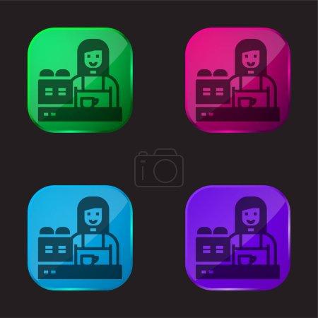 Illustration pour Barista icône bouton en verre quatre couleurs - image libre de droit