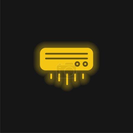 Aire acondicionado amarillo brillante icono de neón
