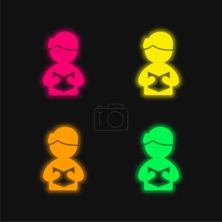 Illustration pour Livre quatre couleur brillant icône vectorielle néon - image libre de droit