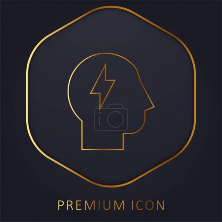 Brainstorm golden line premium logo or icon
