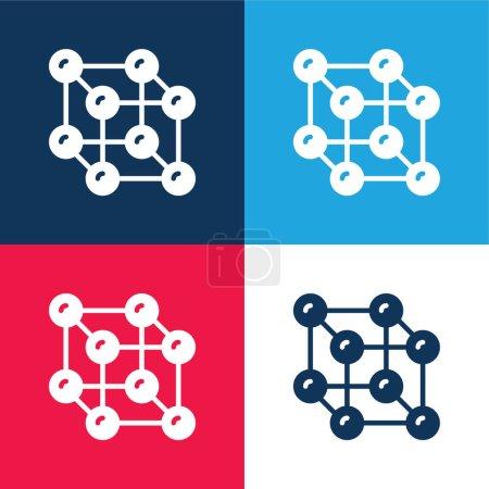 Illustration pour Atomes bleu et rouge quatre couleurs minimum jeu d'icônes - image libre de droit