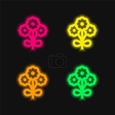 Illustration pour Bouquet quatre couleurs brillant icône vectorielle néon - image libre de droit