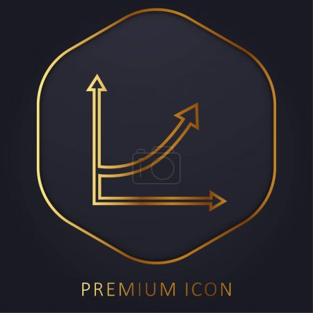 Ascending Arrow Line Graphic golden line premium logo or icon