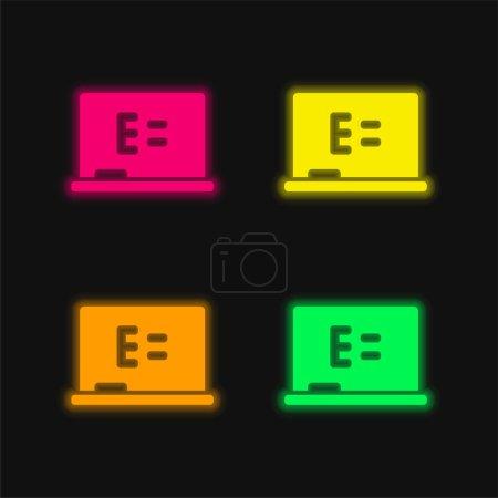 Photo pour Tableau Équation quatre couleur brillant néon vecteur icône - image libre de droit