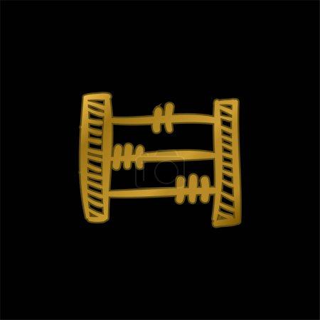 Illustration pour Jouet éducatif Abacus dessiné à la main plaqué or icône métallique ou vecteur de logo - image libre de droit