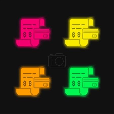 Photo pour Bill quatre couleur brillant icône vectorielle néon - image libre de droit