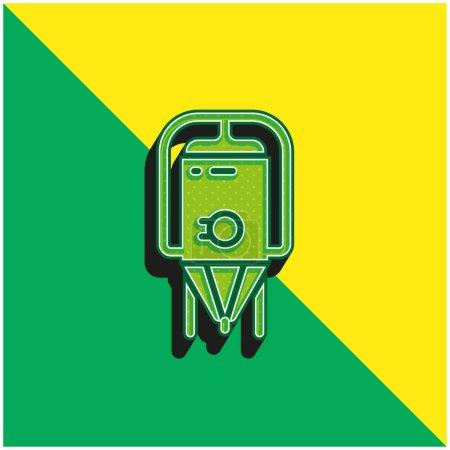 Photo pour Brassage vert et jaune logo icône vectorielle 3d moderne - image libre de droit
