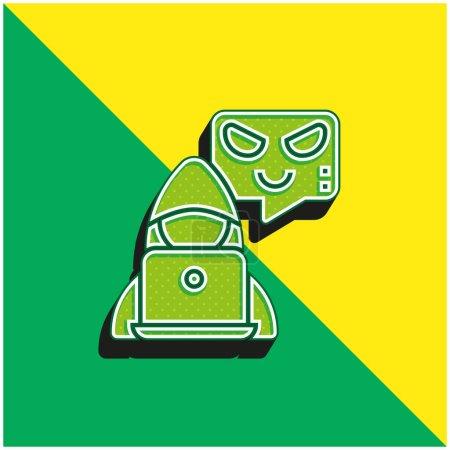 Illustration pour Botnet Logo moderne vectoriel 3D vert et jaune - image libre de droit