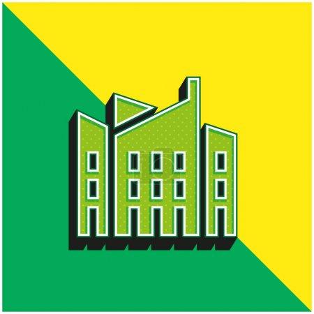Photo pour Architecture Logo vectoriel 3D moderne vert et jaune - image libre de droit