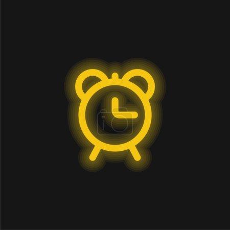 Alarme Horloge contour jaune brillant icône néon