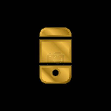 Illustration pour Cellulaire Noir Retour plaqué or icône métallique ou logo vecteur - image libre de droit
