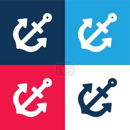 Photo pour Ancre bleu et rouge quatre couleurs minimum jeu d'icônes - image libre de droit