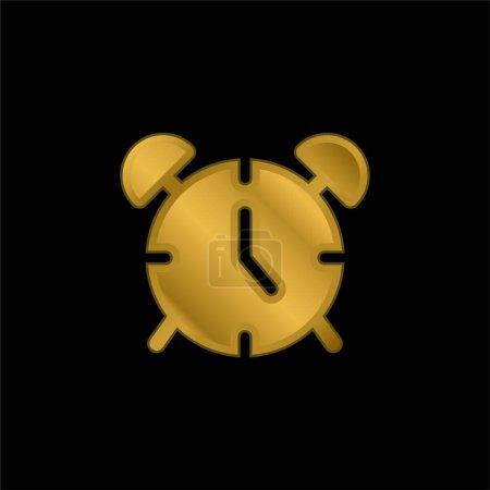 Wecker vergoldet metallisches Symbol oder Logo-Vektor
