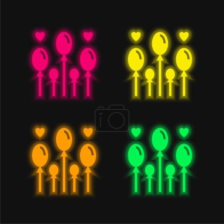 Balloon four color glowing neon vector icon