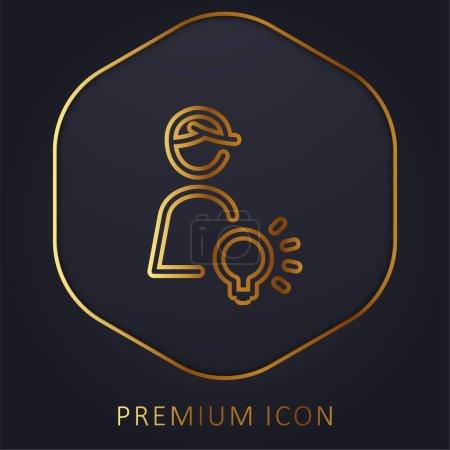 Illustration for Art Director golden line premium logo or icon - Royalty Free Image