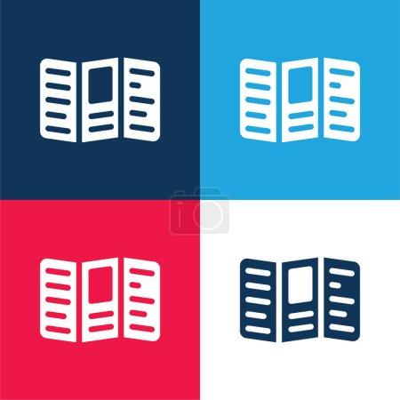 Illustration pour Carnet Texte bleu et rouge quatre couleurs minimum jeu d'icônes - image libre de droit