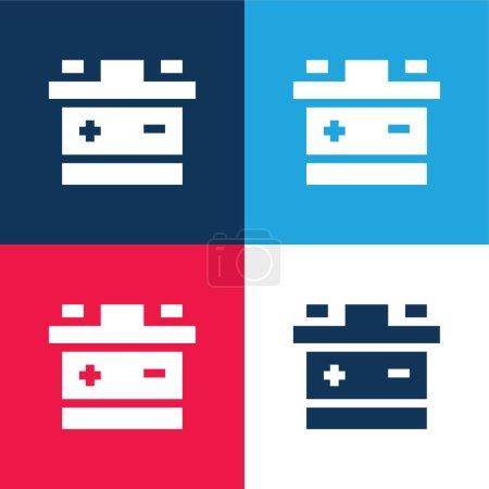 Illustration pour Batterie bleu et rouge quatre couleurs minimum jeu d'icônes - image libre de droit