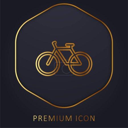 Bicycle golden line premium logo or icon