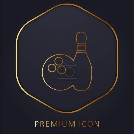 Illustration pour Bowling ligne d'or logo premium ou icône - image libre de droit
