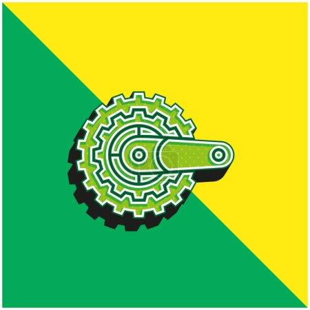 Illustration pour Vélo Logo vectoriel 3D moderne vert et jaune - image libre de droit