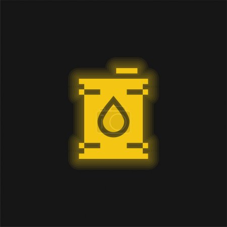 Illustration for Barrel yellow glowing neon icon - Royalty Free Image