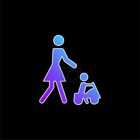 Illustration pour Bébé jouant sur un jouet voiture avec sa mère bleu dégradé vecteur icône - image libre de droit