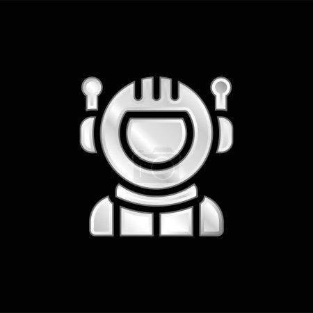 Illustration pour Icône métallique argentée astronaute - image libre de droit