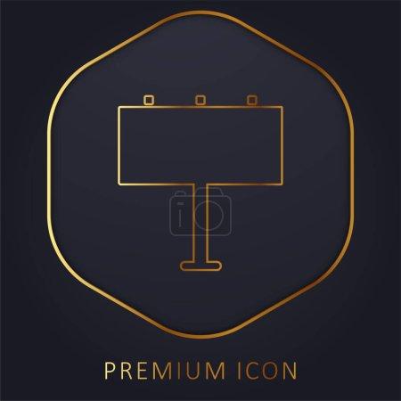 Illustration for Billboard golden line premium logo or icon - Royalty Free Image