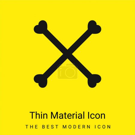 Illustration pour Silhouette d'os formant un symbole de croix minime icône de matériau jaune vif - image libre de droit