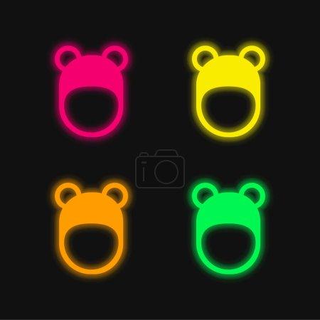 Illustration pour Chapeau ours quatre couleurs brillant icône vectorielle néon - image libre de droit