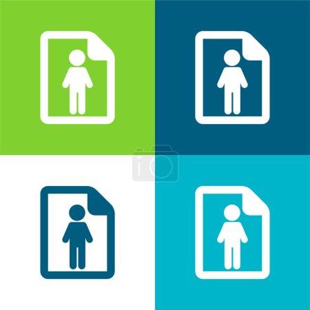 Illustration pour À propos de l'homme réussi Ensemble d'icônes minimal à quatre couleurs - image libre de droit