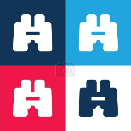 Photo pour Jumelles bleu et rouge quatre couleurs minimum jeu d'icônes - image libre de droit