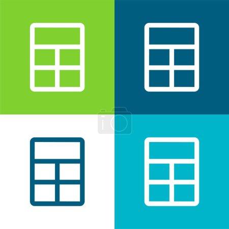 Illustration pour Big Layout Ensemble d'icônes minimal plat à quatre couleurs - image libre de droit