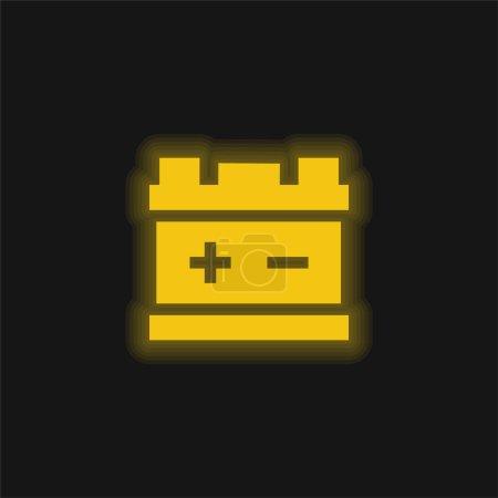Photo pour Batterie jaune brillant icône néon - image libre de droit