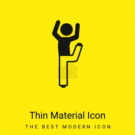 Boy With Bended Leg And Arms Up minimal bright yellow material icon