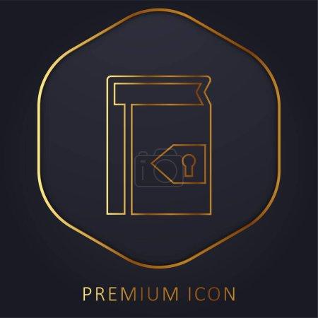 Photo pour Livre avec trou de serrure pour la sécurité ligne d'or logo premium ou icône - image libre de droit