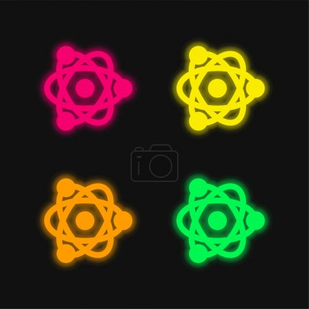 Photo for Atom four color glowing neon vector icon - Royalty Free Image