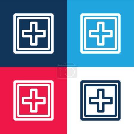 Añadir signo de botón de un símbolo más dentro de una forma cuadrada doble azul y rojo conjunto de iconos mínimo de cuatro colores