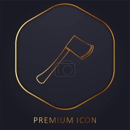 Illustration pour Hache ligne d'or logo premium ou icône - image libre de droit