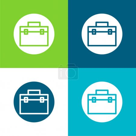 Illustration for Briefcase Flat four color minimal icon set - Royalty Free Image